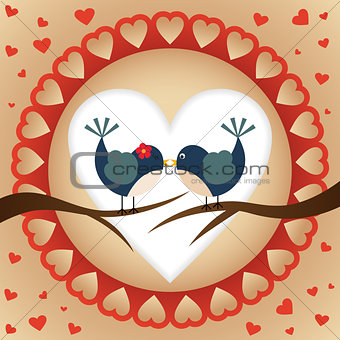 A couple of birds with a heart background