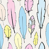 Seamless  pastel bohemian feathers illustration