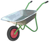 Gardening wheelbarrow on one wheel. The empty truck