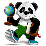 Panda with globe