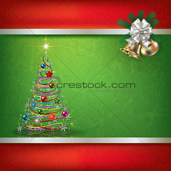 Abstract grunge background with Christmas tree