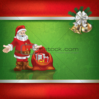 Abstract grunge background with Santa Claus