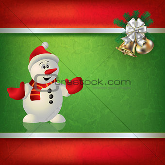Abstract grunge background with snowman