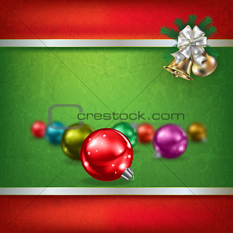 Abstract grunge green background with Christmas decorations