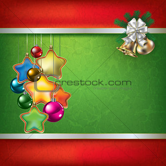 Abstract grunge green background with Christmas gifts decoration