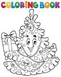Coloring book Christmas tree topic 1