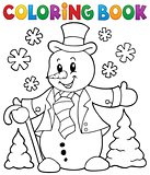 Coloring book snowman topic 1