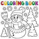 Coloring book snowwoman topic 1