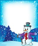 Frame with snowman topic 1