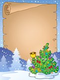 Parchment with Christmas tree topic 2