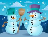 Winter snowmen thematics image 1
