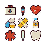 Health Care and Medical Items Modern Flat Icons Set