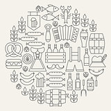Oktoberfest Beer Holiday Line Icons Set Circular Shaped