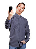 Asian Man Making A Selfie