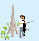 Couple Making Selfie Near The Eiffel Tower in Paris