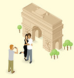 Couple Making Selfie Near The Triumphal Arch in Paris