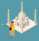 Couple Making Selfie Near The Taj Mahal