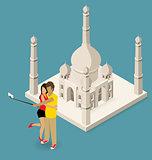 Couple Making Selfie Near The Taj Mahal
