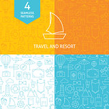 Thin Line Art Summer Holiday Travel Patterns Set