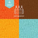 Thin Line Oktoberfest Beer Holiday Patterns Set