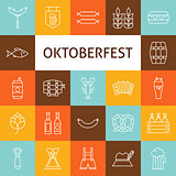 Vector Line Art Modern Oktoberfest Beer Holiday Icons Set