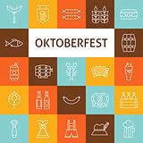 Vector Line Art Modern Oktoberfest Beer Holiday Icons Set