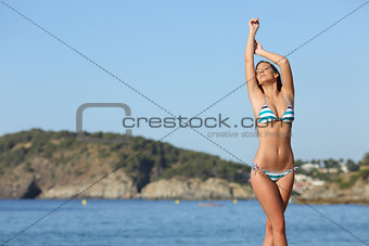 Beauty woman showing her laser hair removal body