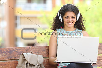Freelancer working with a laptop in a park