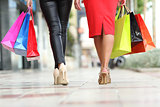 Two fashion women legs walking with shopping bags