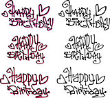 happy birthday wish hand drawn liquid curly graffiti fonts
