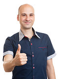 Smiling bald guy showing thumbs up