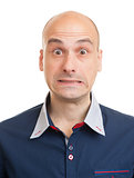 shocked young bald man