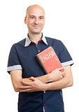 bald man holding a book. Learn English