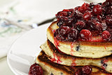 Cranberry Sauce over Fresh Pancakes