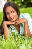 Indian Asian Young Woman Girl Resting on Hands Outside