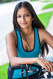 Indian Asian Young Woman Girl Fitness Cycling