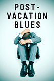 text post-vacation blues and a businessman curled up with his he