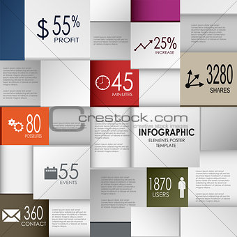 Abstract info graphic square element poster template