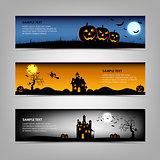 Halloween night banners template
