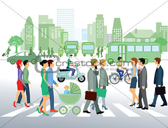 Cityscape with people walking on the street