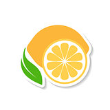 Lemon fruit icon label