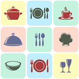 Cooking and restaurant menu icons