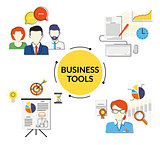 Business tools illustrations set