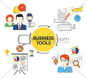 Business tools illustrations set