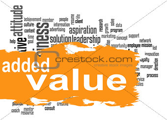 Added Value word cloud with orange banner
