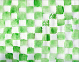 Watercolor green painted geometric background