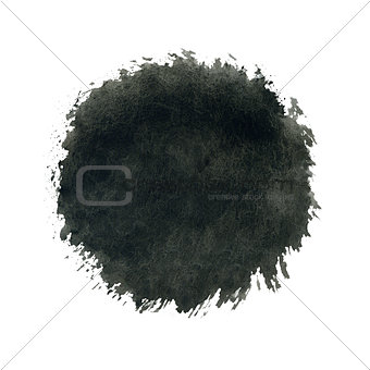 Black watercolor circle splash on white background.