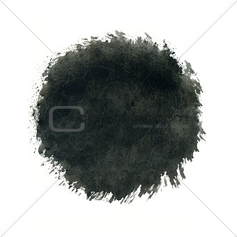 Black watercolor circle splash on white background.