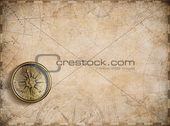 old nautical map background with compass