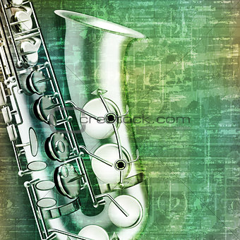 abstract grunge background with saxophone